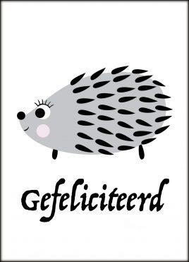 Ansichtkaart Egel 'Gefeliciteerd'