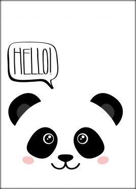 Postcard Pandaface 'Hello!'