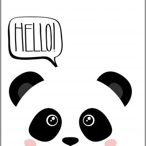 Ansichtkaart Pandaface 'Hello!'